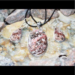 Leopardite Pendant & Earrings Set